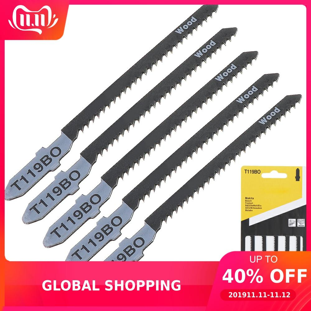 5pcs/lot T119BO 82mm High-carbon Steel Reciprocating Jigsaw Blades Fast-Cutting Jig Saw Blade Set For Wood Board Plastic Cutting