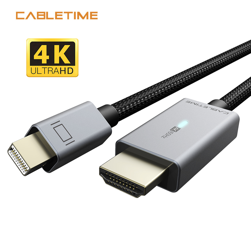 CABLETIME <font><b>Mini</b></font> DP <font><b>to</b></font> <font><b>HDMI</b></font> Cable LED Light 4K/60Hz Gold Plated <font><b>Mini</b></font> <font><b>Displayport</b></font> <font><b>to</b></font> <font><b>HDMI</b></font> <font><b>Adapter</b></font> for Macbook Air Dell Lenovo N368 image