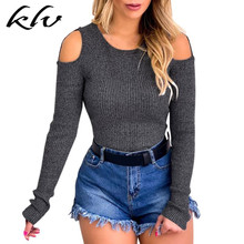 Women Autumn Cold Shoulder Knit Hollow Long Sleeve Solid Ribbed Tops T-Shirt Tee pink tiered flounced details crossed front cold shoulder long sleeves t shirt