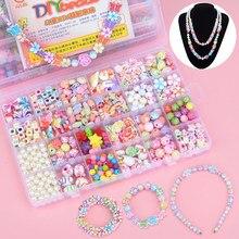 DIY Bunte Acryl Handgemachte Perlen Mädchen Puzzle Spielzeug 24 Grid Schmuck Halskette Armband Handgemachte String Bead kinder Spielzeug