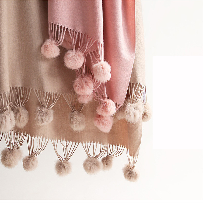 Tassel Soft кашемир head scarf Real Rabbit Fur Pompom Scarf Shawl Female Knitted wool Solid color Warm Napped Wrap