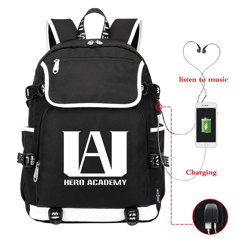 My Hero Academia Backpack travel bag School Bag usb charging canvas shoulder bag