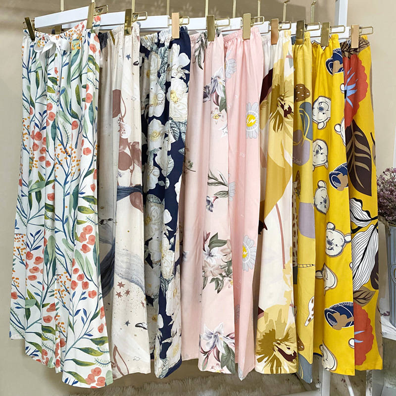 2020 NEW Sleep Bottom Thin Female Homewear Pants Floral Print Calf-length Pajamas Pants Wide-Leg Comfortable Elastic Pyjamas