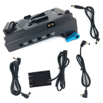 V mount Plate Power Supply + 15mm Rod Clamp + DR-E6 LP-E6 Dummy Battery + DC cable for Canon 5D Mark II III 6D 70D ACK-E6 LP-E6N