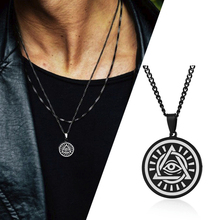 MYSTIC EYE OF GOD DISC PENDANTS AND NECKLACES FOR MEN STAINLESS STEEL JEWELRY