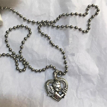 European and American retro heart-shaped love cupid pendant necklace stainless steel ball chain cool girl disco Silver