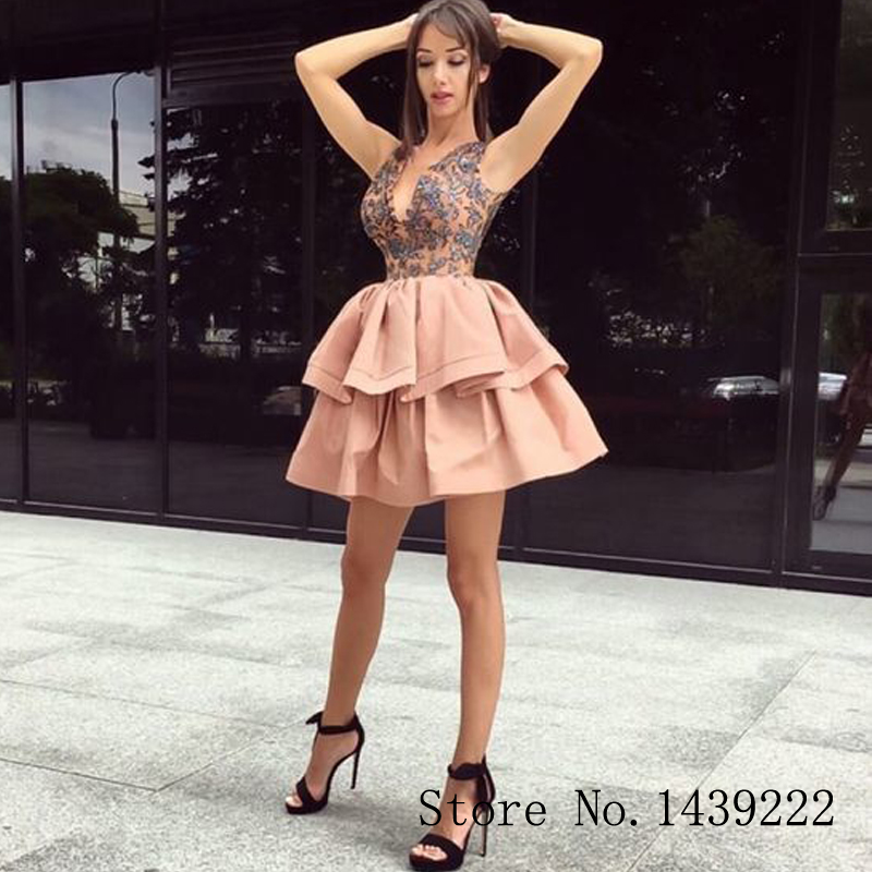 Champagne Satin Sofuge Mini Homecoming Evening Dress Appliques Backless Vestidos De Fiesta Girl Prom Special Occasion