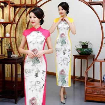 Designer Ladies Long Cheongsam New Chinese Style Mandarin Collar Dress Womens Qipao Slim Party Dresses Vestido new red embroidery flower female modern cheongsam elegant mandarin collar chinese style dress cotton long sleeve qipao l xxl