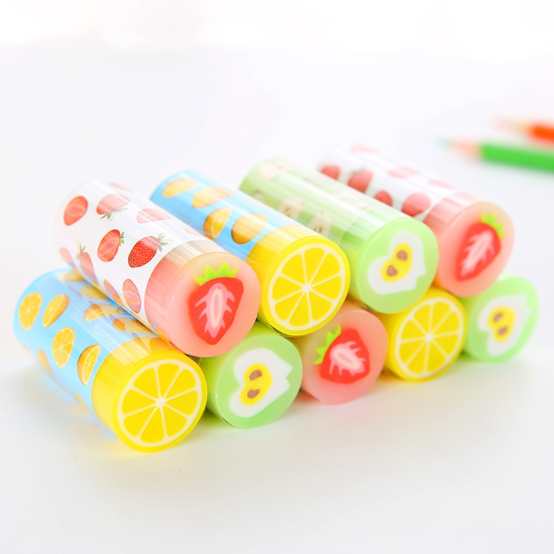 1pc Colorful Fruit Rubber Eraser Novelty Candy-colored Strawberry Pencil Eraser For Kids Painting Art Supplies Kawaii Stationery
