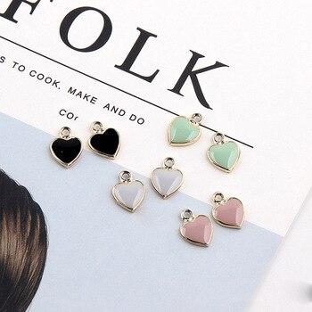 20 Uds 10*14mm aleación de Zinc diseño de amor pendientes con amuletos de esmalte Mini dulce corazón encantos para DIY pendientes pulsera joyería accesorio