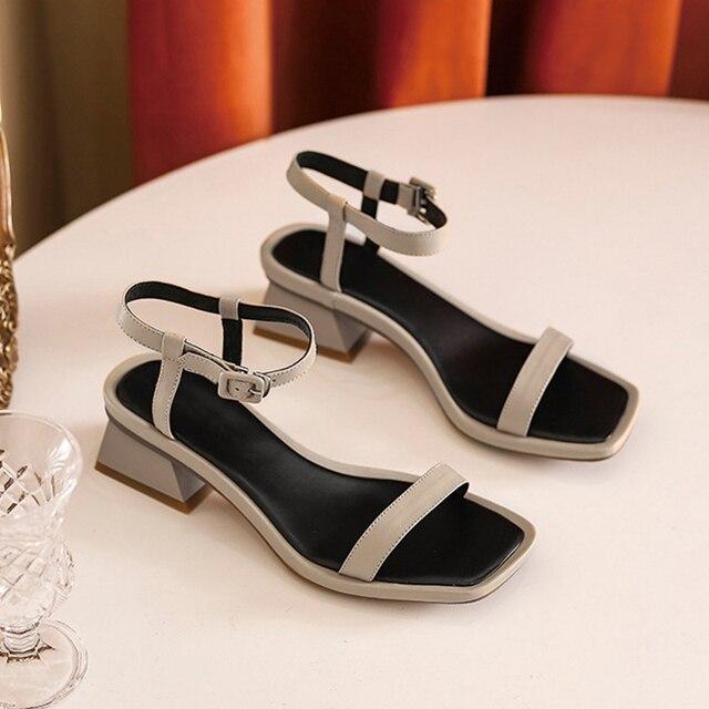 Donna in Buckle Strap Sandals Women Heels Black Open Toe Genuine Leather Women Shoes Gladiator