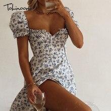 Tobinoone Lace Up kısa puf kollu yaz kadın elbise çiçek baskı yüksek yarık parti Backless seksi uzun elbiseler zarif Sundress