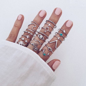 20Pcs/Set Women Fashion Rings Moon Leaf Waves Elephant Crystal Geometry Silver Color Ring Set Party Wedding Charm Jewelry(China)