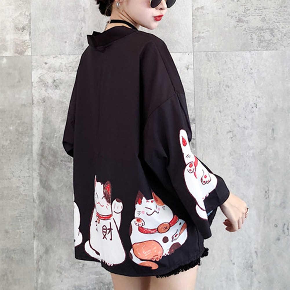 ファッションかわいい夏ビーチ女性カーディガンラッキー印刷着物ルース包帯カーディガン女性のためのカーディガン服