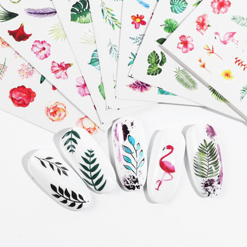 1pcs Water Nail Decal And Sticker Flower Leaf Tree Green Simple Summer Slider For Manicure Nail Art Watermark Tips