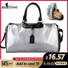 Bolsa de equipaje de señora para deportes de plata, bolso de viaje con etiqueta, para gimnasio, de cuero, para Yoga y Fitness, XA806WD