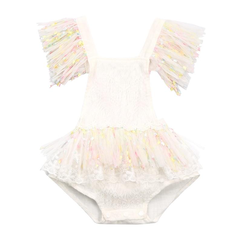 Wallarnear 0-3 lat maluch dziewczynka koronka, falbany Romper lato bawełna bez rękawów Tutu spódnica kombinezon ciasto Smash stroje