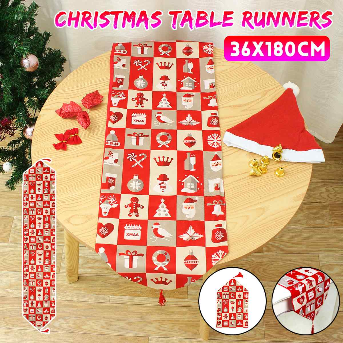 Christmas Table Runners Decoration Linen Printed Long Table Flag For Home Christmas Festival Table Runners Decorations 180*36CM