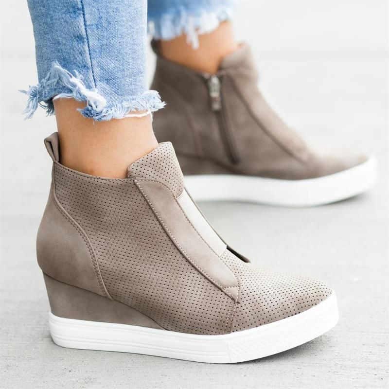 Zapatillas De Mujer De cuña vulcanizan los Zapatos De moda cremallera leopardo aumento dentro De Zapatos De Mujer nueva moda para niña