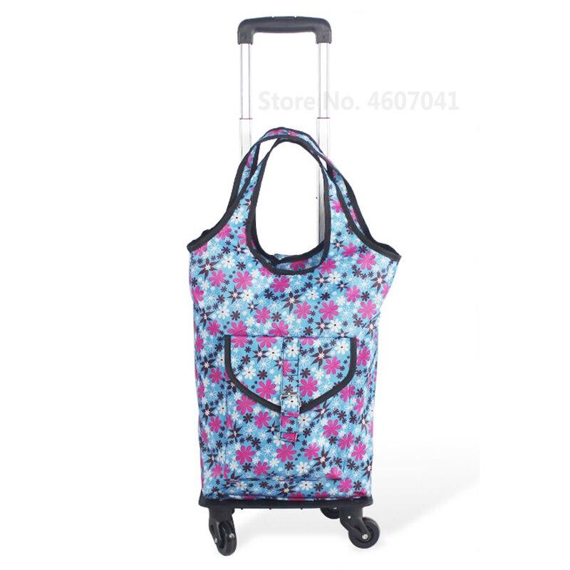 Съемная сумка-тележка для шоппинга, телескопическая складная корзина для покупок, сумка на колесиках из алюминиевого сплава, универсальная Тележка для покупок - Цвет: color1