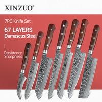 XINZUO Brand 7 PCS Damascus Kitchen Knives Set High Quality Knives Chef Paring Bread Utility Santoku Slicing Nakiri Cooking Tool