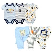 6 Pçs/lote Romper Do Bebê de Manga Curta + calça conjuntos meninos Roupas de Verão 2020 menina Dos Desenhos Animados do bebê macacão Crianças Roupas de Bebê Roupas