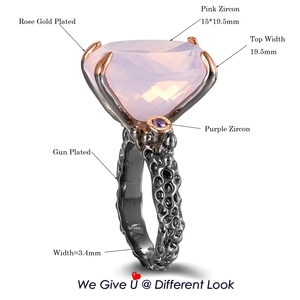 Image 5 - DreamCarnival1989 Big Radiant Cut Zirconia Solitaire Wedding Rings for Women Pink CZ Black Rose Gold Color Dating Gift WA11702