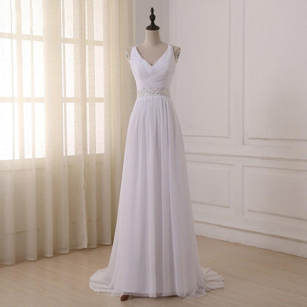 US $18.18 18% OFFJiayigong Elegante Strand Hochzeit Kleid 18 Sexy V  ausschnitt Perlen Straps Plissee Chiffon Hochzeit Kleider Vestido De
