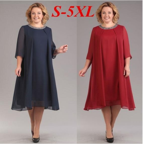 BacklakeGirls Round Neck Chiffon Mother Of The Bride Dresses Three Quarter Sleeves Straight Mom Dress For Wedding Party