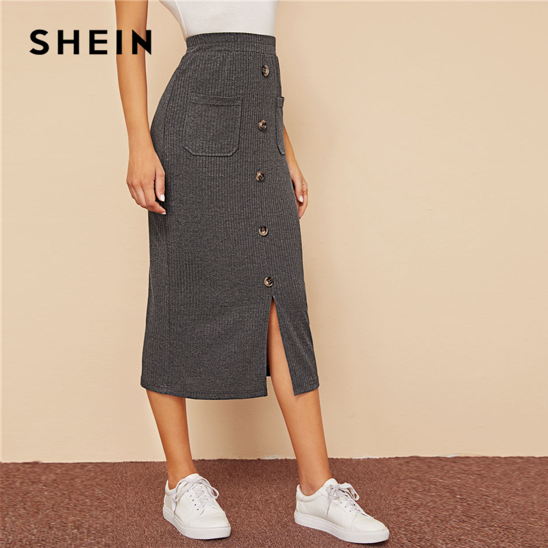 SHEIN Grey Single Breasted Split Hem Pocket Patched Rib-knit Skirts Womens Autumn High Waist Ladies Casual Straight Long Skirt 2