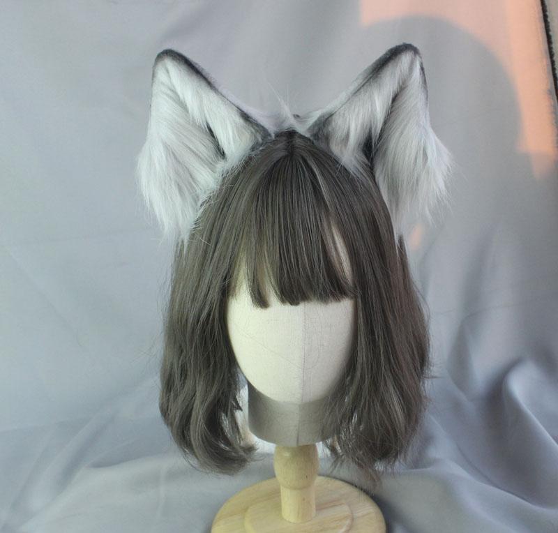 Plush Simulation Stereo Animal Beast Ear Hairpin KC Headdress Cosplay Soft Girl Cute Cat Ear Wolf Ears Lolita Headband Props