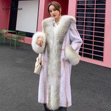 Fursarcar натуральный мех норки длинное пальто с люксовая модель;