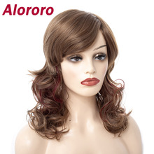 Alororo Long Wavy Synthetic Hair Wigs for Black Women Natural Heat Resistant Curly Fake Hair Brown Wig Cosplay Party Wig цена 2017