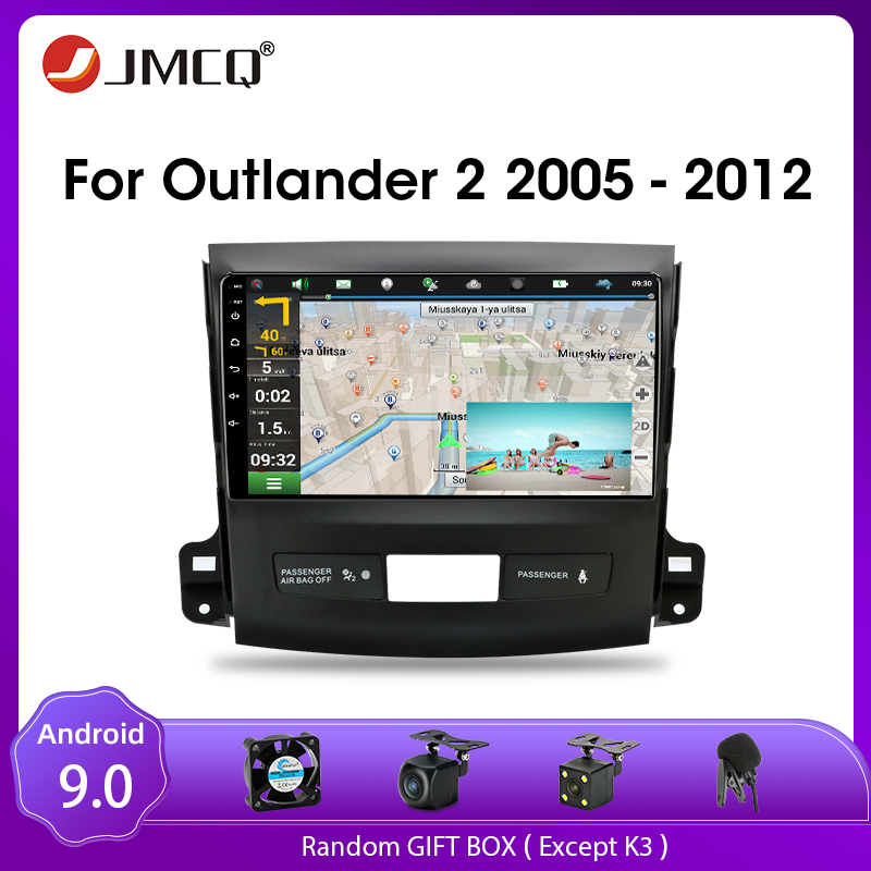 JMCQ <font><b>Android</b></font> 9.0 For <font><b>Mitsubishi</b></font> <font><b>Outlander</b></font> Xl 2 CW0W 2005-2012 Car Radio Multimedia Video Player 2 din GPS Stereos Split Screen image
