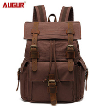 AUGUR Men and Women Vintage Cotton Canvas Mens Travel Bags Casual Durable Large Capacity Laptop Backpacks Male BackBag Rucksack
