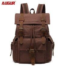 Мужские и женские винтажные дорожные сумки AUGUR, хлопковые холщовые повседневные прочные рюкзаки для ноутбука большой вместимости, мужской рюкзак рюкзак