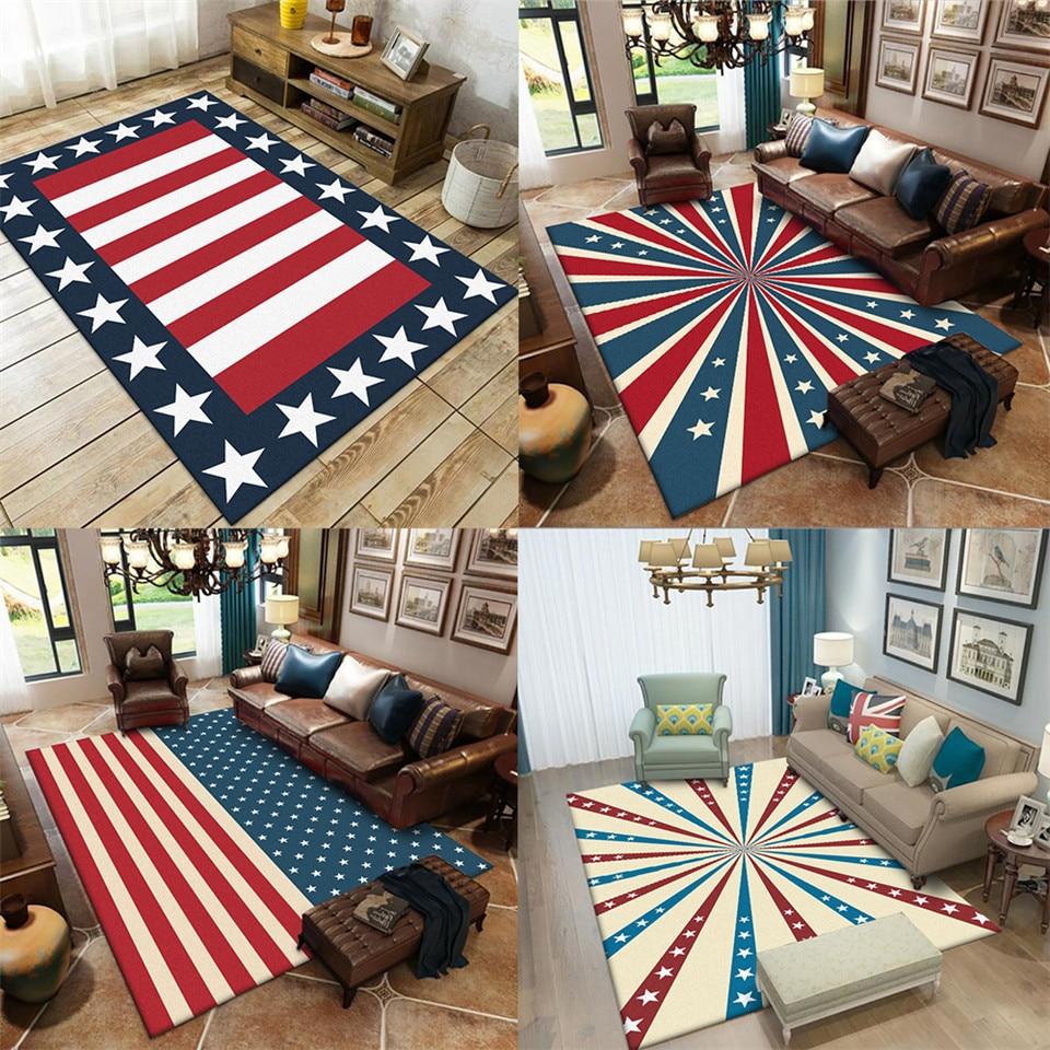 Classic Red Blue White Strip Star Carpet Living Room Entrance Hall Rug Bedroom Beside Mat  Large Carpet Scandinavian