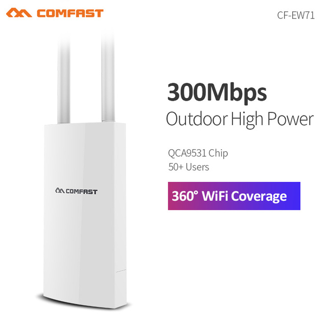 300Mbps High Power Wifi Extender Outdoor Wifi AP Waterproof Wifi Router 2.4G Dual 5dbi External Antenna POE 802.11b/g/n