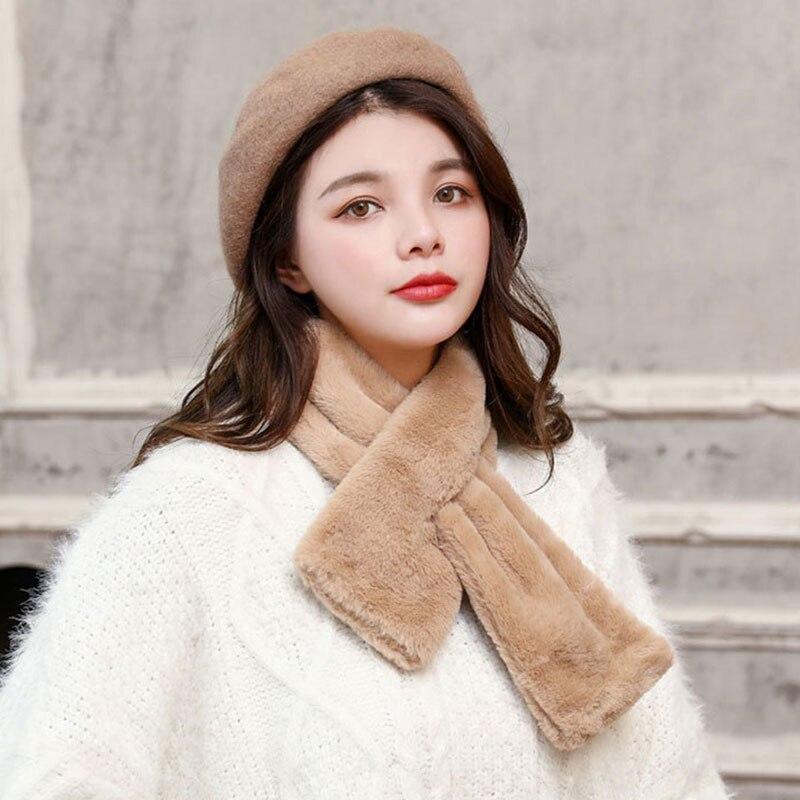 Moda invierno bufanda de piel sintética Color puro abrigo bufanda cálido pompón cuello calentadores invierno grueso felpa Faux bufanda de piel de conejo