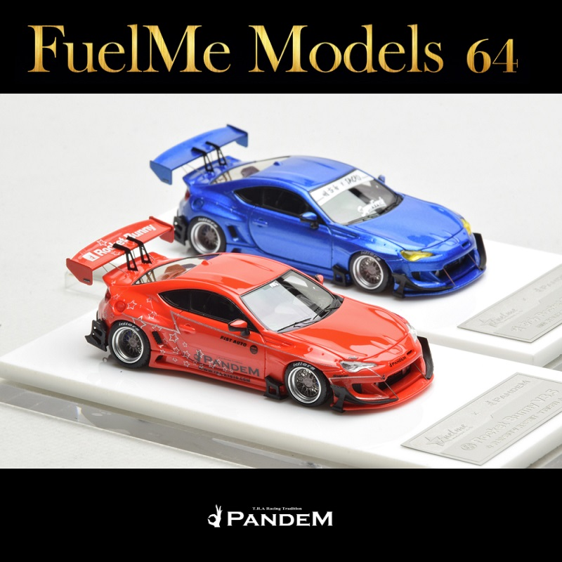 FuelMe 1:64 Rocket Bunny Pandem V3.5 BRZ Rally Blue Sakura Toyota GT86 Rainbow Rabbit Red Resin Model Car