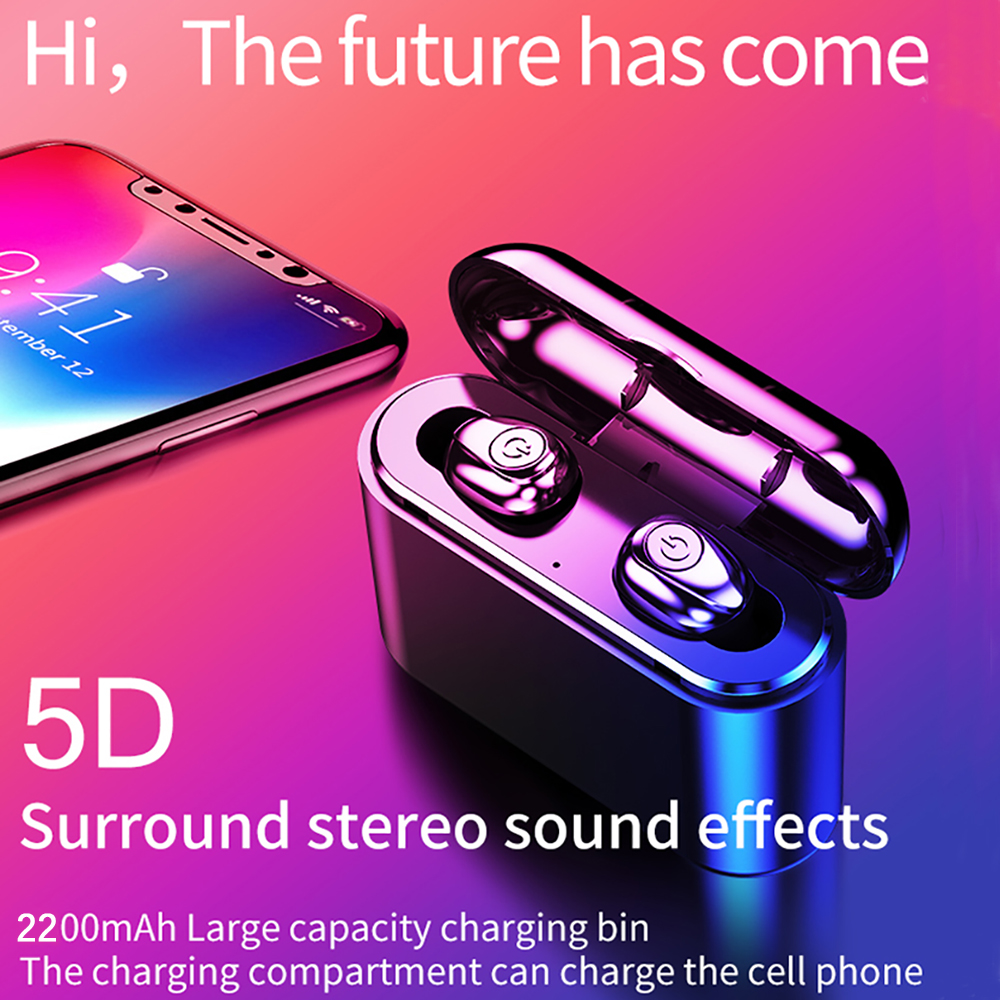 Wireless Earbuds 5D Stereo Bluetooth Earphones Mini <font><b>TWS</b></font> Waterproof Headfrees with 2200mAh Power Bank <font><b>fone</b></font> de ouvido bluetooth image