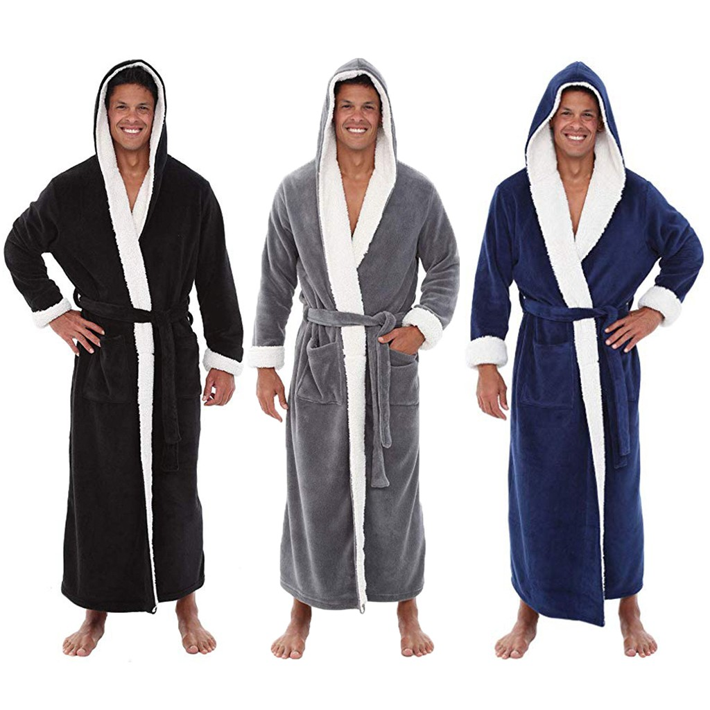 Men Bathrobe Home-Clothes Plush Winter Men's -L20 Shawl Badjas Lengthened Long-Sleeved title=