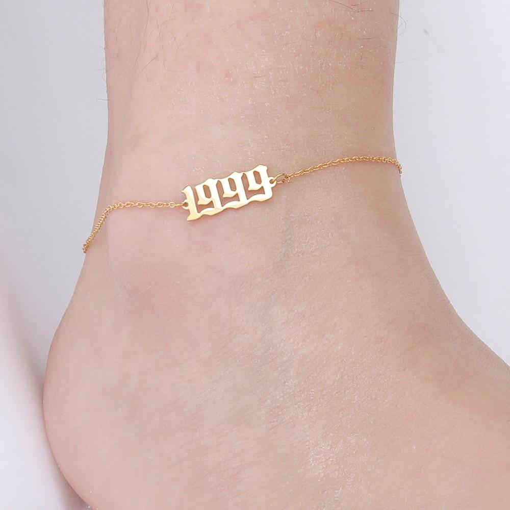 Skyrim 1989 To 2020 Birth Year Number Leg Ankle Bracelet Stainless Steel Gold Color Custom Foot Anklet Women Girls Birthday Gift