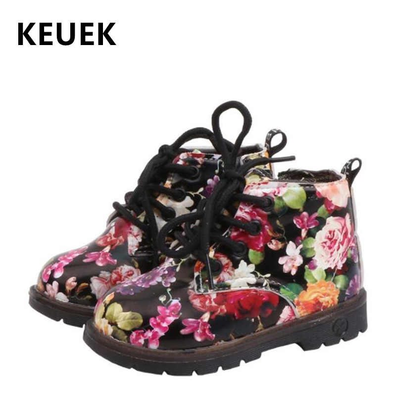 NEW 2020 Spring Children Ankle Boots PU Leather Waterproof Fashion Flower Boots Boys Girls Shoes Kids Single Boots 03B