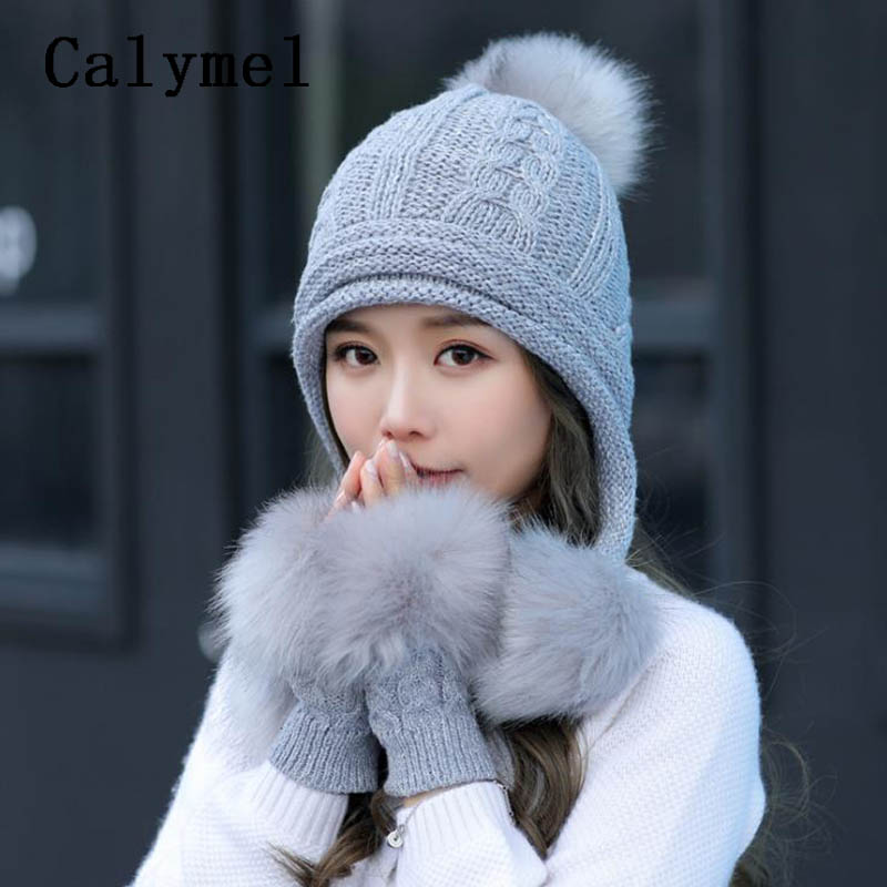 Calymel Knitted Wool Hat Gloves Set Ladies Autumn And Winter Cute Large Hairball Set Fashion Simple Sweet Warm Hat