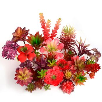 Dekoracja do przydomowego ogrodu sztuczne rośliny czerwone sukulenty bonsai kompozycja kwiatowa akcesoria sztuczne rośliny Planta sztuczne tanie i dobre opinie Wusmart 1 pc Pulpit