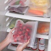 1Pcs Lebensmittel Lagerung Tasche Container Wiederverwendbare Gefrierschrank Tasche Dicht Top Ziplock Silikon Taschen Küche Organizer Beutel Frisch Halten