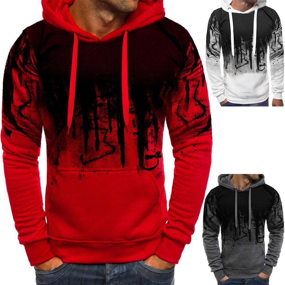 Men Fashion Camouflage Hoodies Long Sleeve Drawstring Hooded Sweatshirt Top