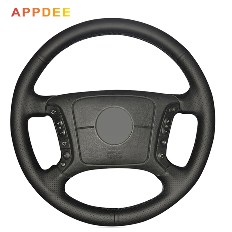 APPDEE  Hand Stitched Black Artificial Leather Car Steering Wheel Cover for BMW E46 318i 325i E39 E53 X5 Car Styling|Steering Covers|Automobiles & Motorcycles - title=