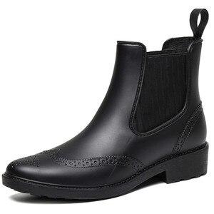 Image 3 - Zapatos de goma para otoño, Botas de lluvia para mujer, Botines Chelsea impermeables, botas de plataforma plana para niña, botines de primavera para mujer laarzen